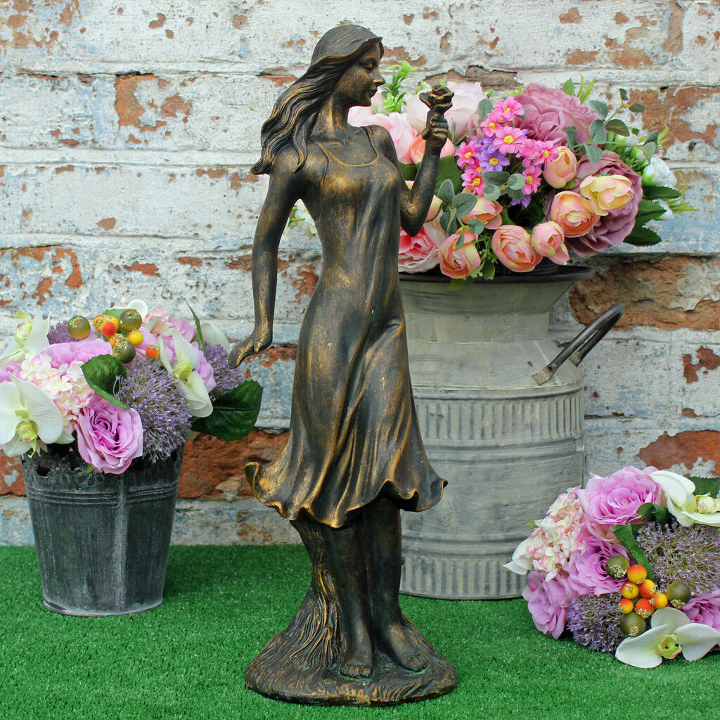 18cm Woman Figure Garden Ornament Bronze Effect Resin Flower Girl Sculpture home
