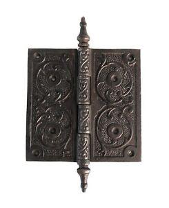 Victorian-Steeple-Tip-Hinge-5-Inch-Cast-Iron-Antique-Style-Hardware-Restoration