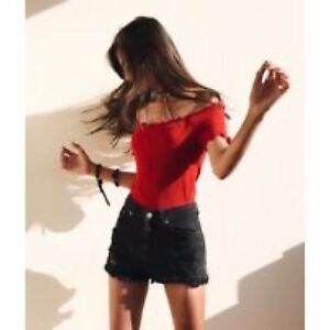 87de59c7facae1 Image is loading brandy-melville-Red-cropped-ribbed-off-shoulder-jessie-