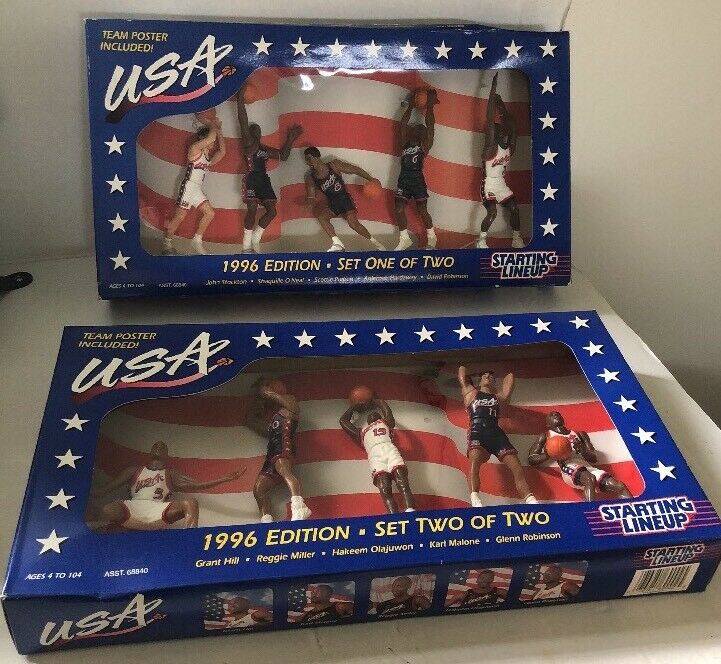 1996 USA Basketball Action Figures, Sets 1 & 2, Posters, Starting Lineup, Kenner