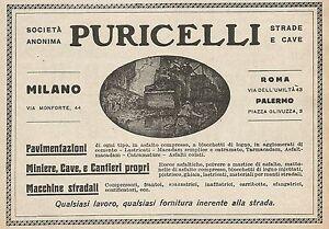 Dettagli su Z0521 Strade e Cave PURICELLI - Palermo - Pubblicità del 1927 -  Advertising