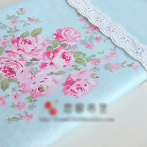 Blue-Large-Floral-Cotton-Sheeting-Bedding-Homeware-Craft-Shabby-Chic-1M-Fabric