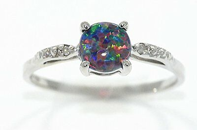 6mm Black Opal & Diamond Round Ring .925 Sterling Silver