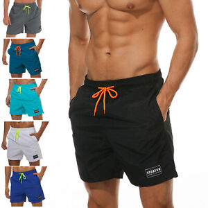 Mens-Swimwear-Trunks-Mesh-Liner-Quick-dry-with-Pockets-Beach-Shorts-Lightweight