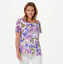 thumbnail 1 - Isaac-Mizrahi-Live-Scoop-Neck-Floral-Printed-Lace-Knit-Top-Purple-2X
