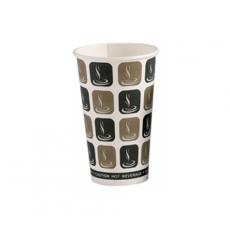 500 x 16oz Mocha Cafe Coffee Cups Paper Single Wall Disposable Tea Cappuccino