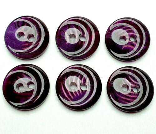184 negro alta qaulität 6 botones botón plástico 15mm lila