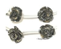 10mm Palazzo Iron Pyrite Gemstone Carved Rose Flower Flora 10mm Loose Beads 7.5