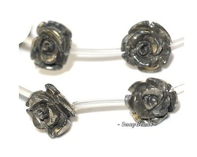 10MM PALAZZO IRON PYRITE GEMSTONE CARVED ROSE FLOWER FLORA 10MM LOOSE BEADS 7.5""