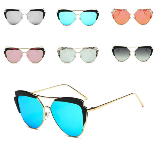 Womens Fashion Mirror Lens Cat eye Sunglasses Brand Designer Quality Frame