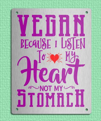 Métal Signe Plaque Rétro métallique VEGAN HEART Vegetarian Food Quotes 20 x 15 cm