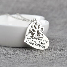 Silver Plated Pet Lover Animal Foot Dog Paw Print Heart Pendant Necklace Best