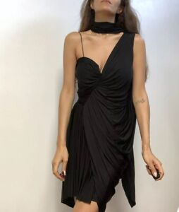 alexander wang draped corset black cupro cocktail dress sz