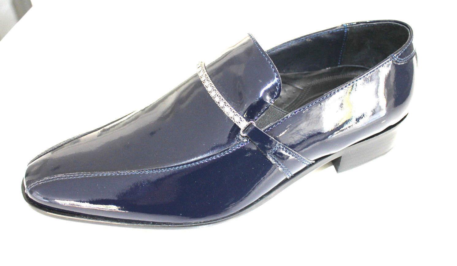 Scarpe cerimonia uomo BLU mocassino sposo cuoio cuoio cuoio made in Italy shoes laether man 1c0d20