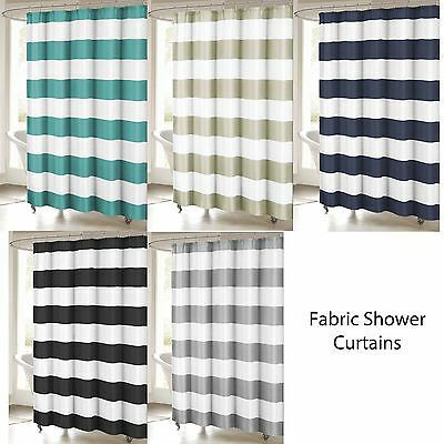 Fabric Shower Curtain: Stripe Design, 70x72