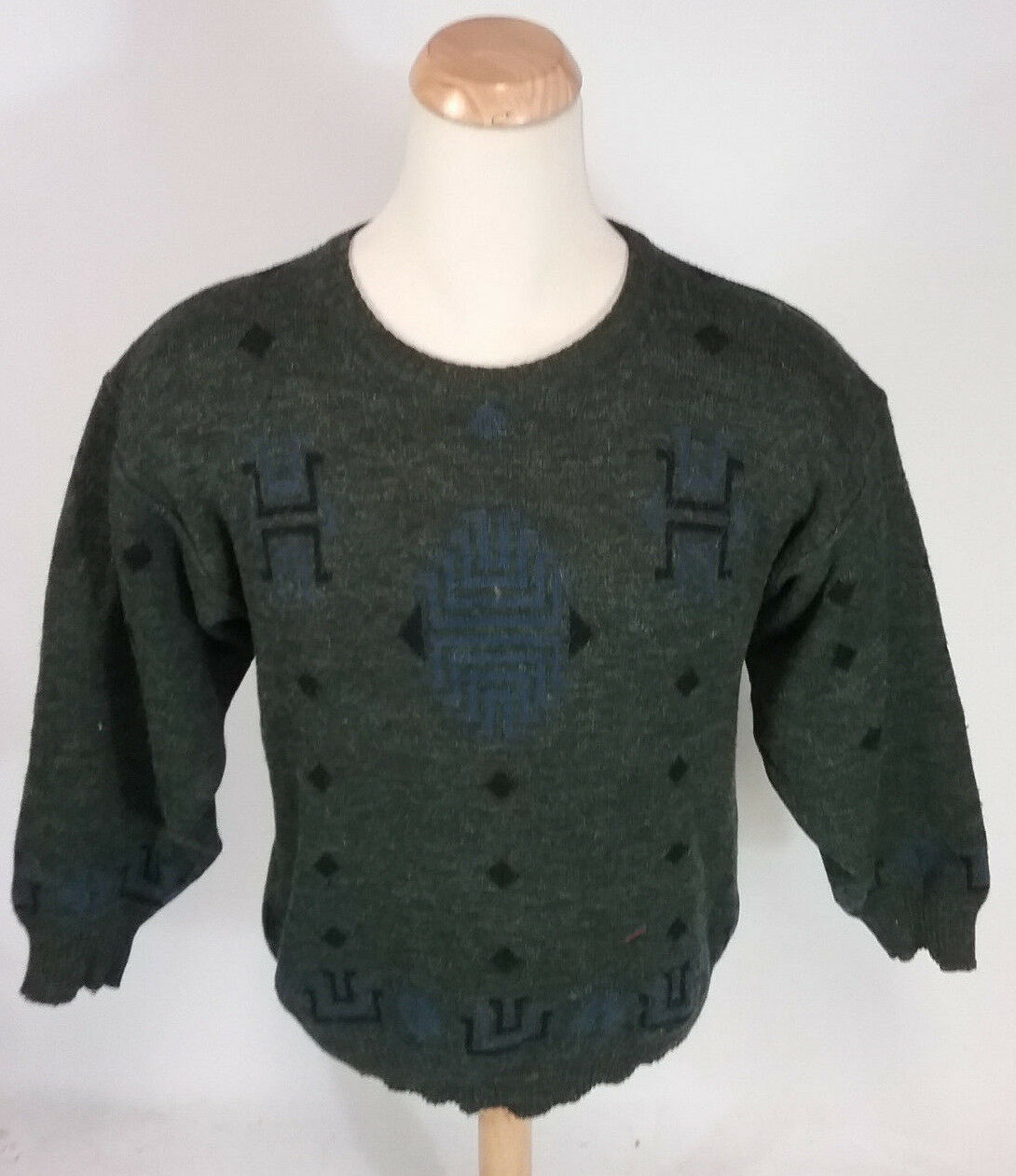 Vintage 50s Alpaca Wool Navajo Indian Winter Sweater XL/L Made  Ski Shirt