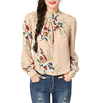 Womens Retro Vintage Long Sleeve Floral Chiffon Collar Blouse Office Tops Shirt