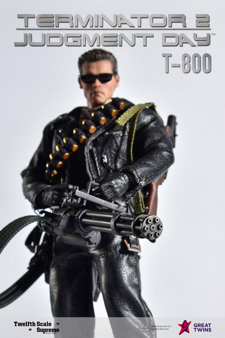Great Twins 1 12 Terminator 2 Judgement Day T-800 Arnold PVC Action Figure New