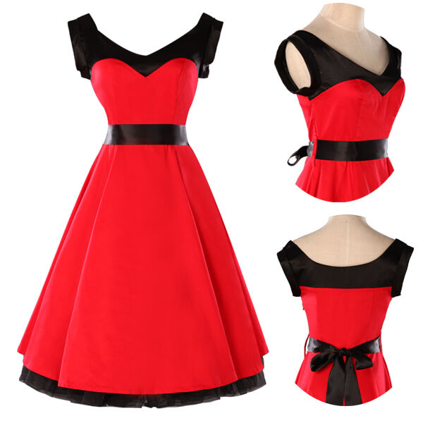 2013 Cotton Red Vintage Party Prom Swing Full Flare Jive Dress Rockabilly Dress