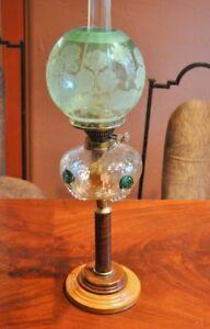 Rare-Antique-Paris-1900-Deco-Lamp-ART-NOUVEAU-Colored-Glass-Wood-Tiffany-Styk