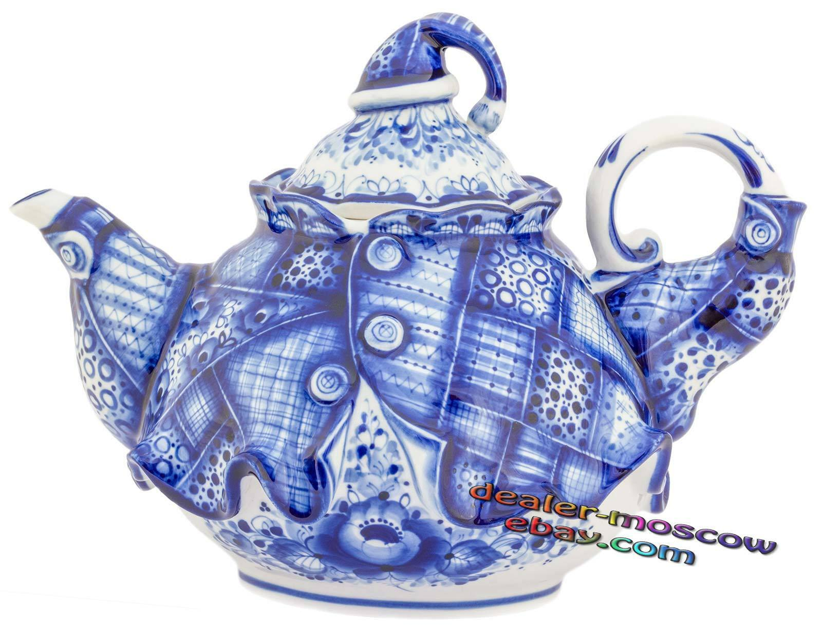 Russian Porcelain Author bluee Gzhel Hand Painted Teapot Buffoon's Caftan