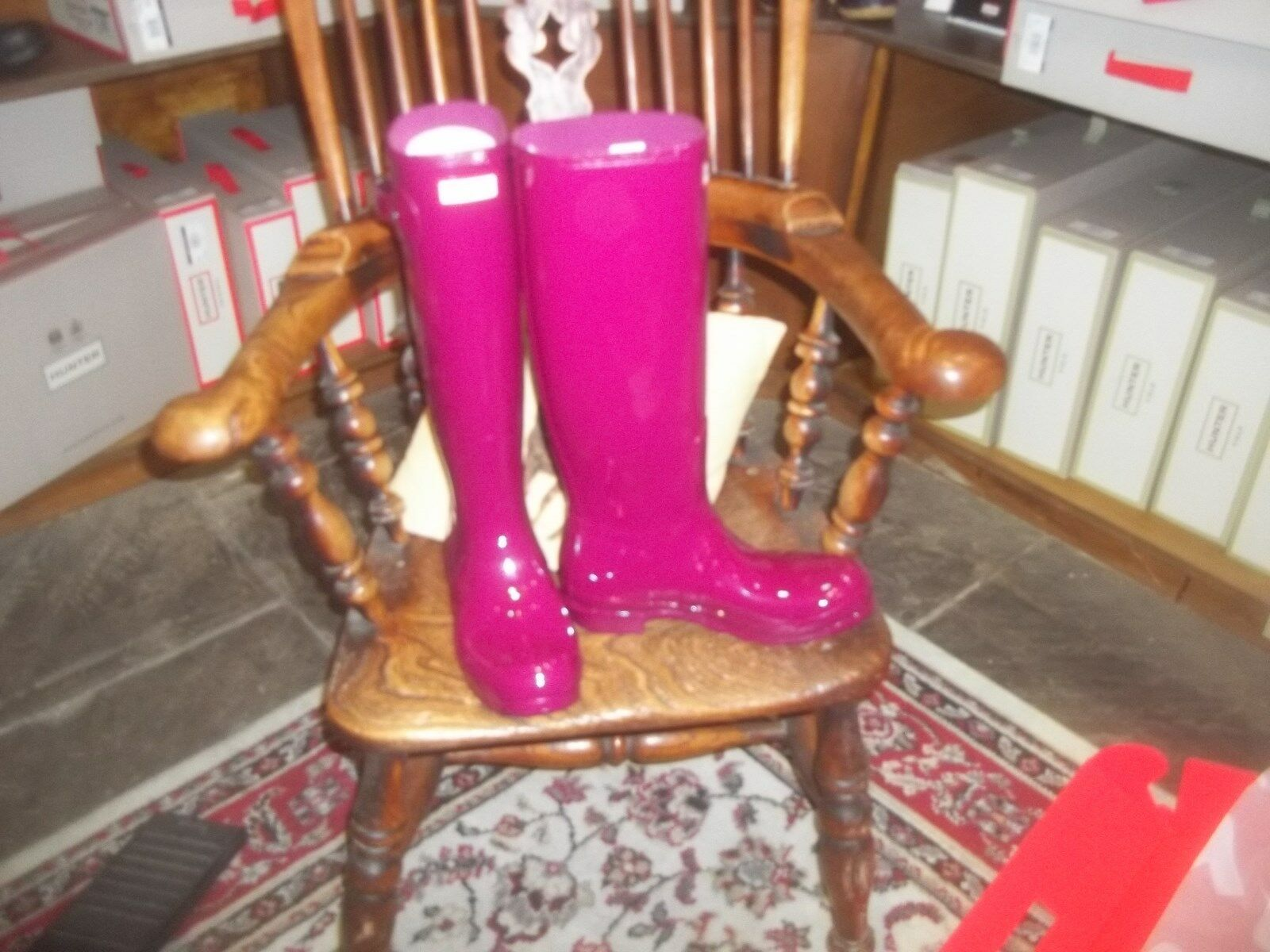 VIOLET GLOSS HUNTER WELLIES WELLINGTONS  IN HALIFAX SIZE 8  TALL Women's LADIES