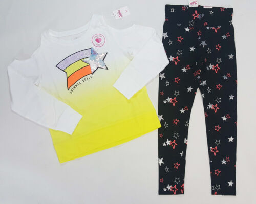 NWT Justice Girls Size 8 10 or 18//20 Yellow Sequin Shoulder Top /& Star Leggings