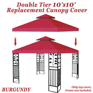 Details about Double Canopy Replacement Top 10'x10' Patio Gazebo Sunshade  Polyester Cover