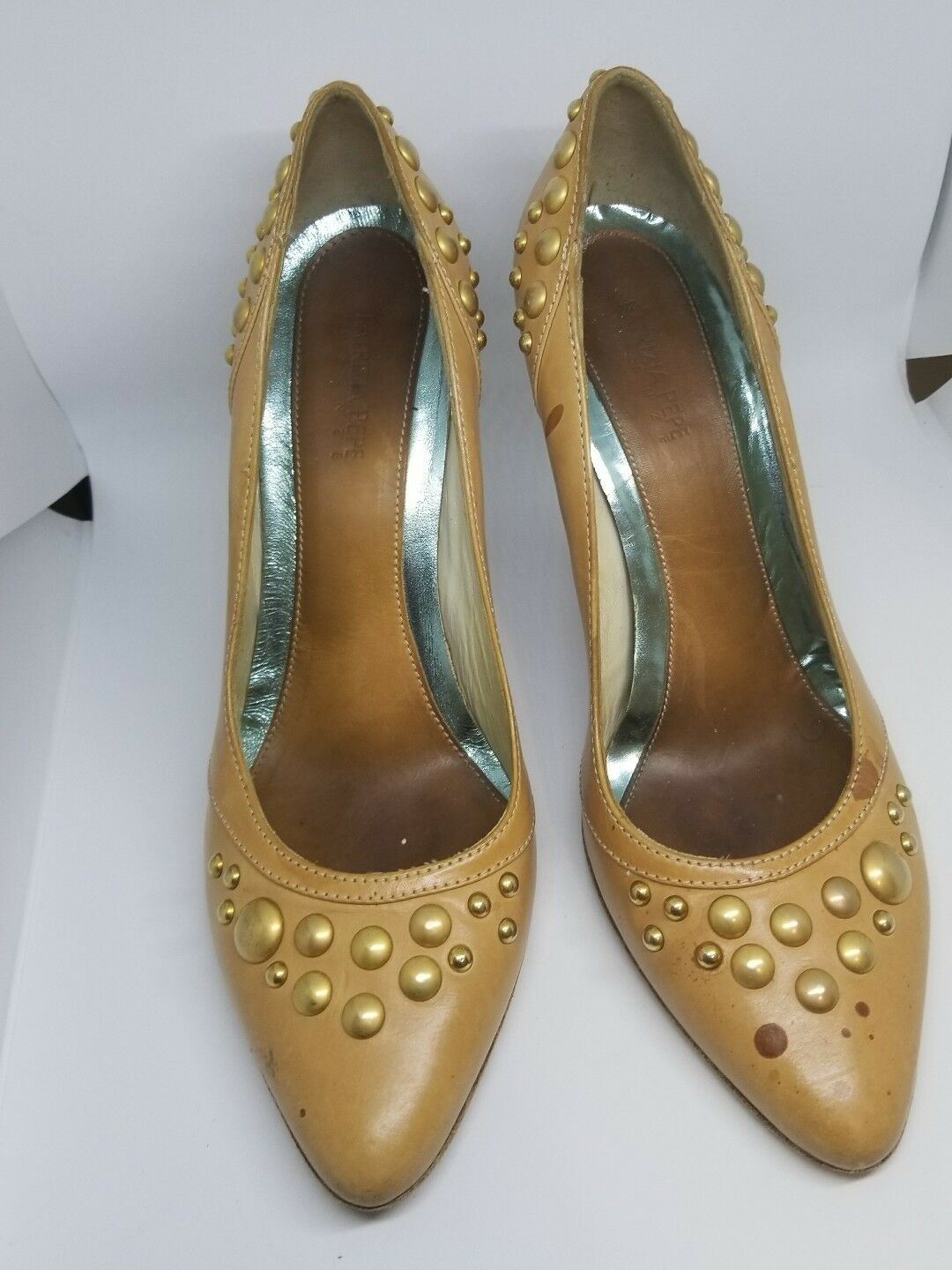 nelle promozioni dello stadio Patrizia Patrizia Patrizia Pepe Firenze Italian Genuine Marrone Leather Pumps with round studs 37  alla moda