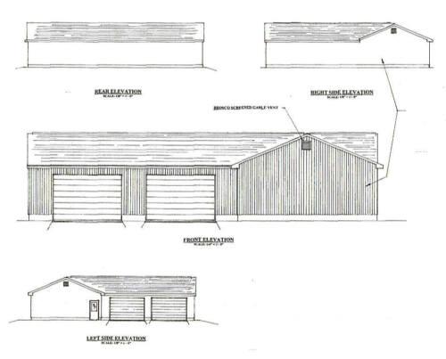 60' x 56' Six Plus Stall ' L' Shape Garage Building Plans Blueprints