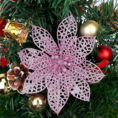 Glitter Artificial Hollow Flower Christmas New Year Party Decorations 10 Pcs