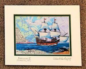 Mayflower 2 Art Print map Plymouth harbor Pilgrim ...