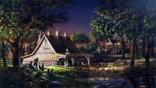 "Terry Redlin ""Family Time"" S/N Horse Barn Fishing Pond Print 32"" x18.5"""
