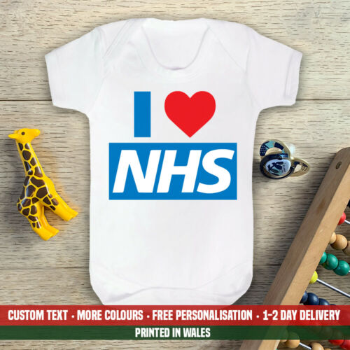 I Love NHS Baby Vest Hero Son Doctor Nurse Support Birthday Gift Medic Daughter