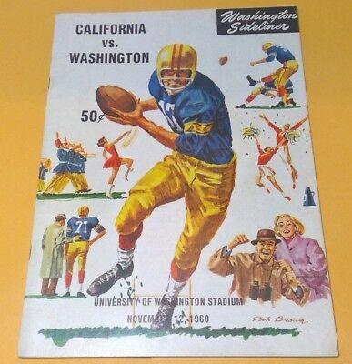1960 California Vs Washington College Football Game Program Huskies Uw Bears Cal Ebay