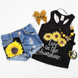 390ae65e7 Baby Girl Kids Summer Toddler Outfits Clothes T-shirt Tops+Shorts ...