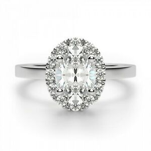 1.20 Ct Oval Cut Moissanite Engagement Ring 18K Solid White Gold ring Size 4 5 6