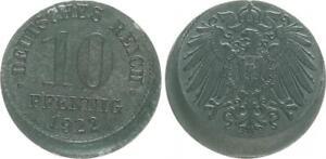 Empire 10 Pfennig J.299 1922 Lack Coinage 15% Dezentriert XF