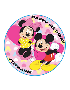 Minnie Mouse & Mickeycake Image Personalized Birthday Decoration Party Topper Other Baking Accessories