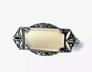 VINTAGE-SILVER-Art-Deco-Chalcedony-Marcasite-Brooch-Pin-GIFT-BOXED