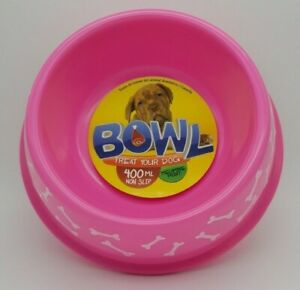 Dishes, Feeders & Fountains Bnwt Unbranded Bone Print Pink Non Slip Round Dog Bowl 400ml Utmost In Convenience