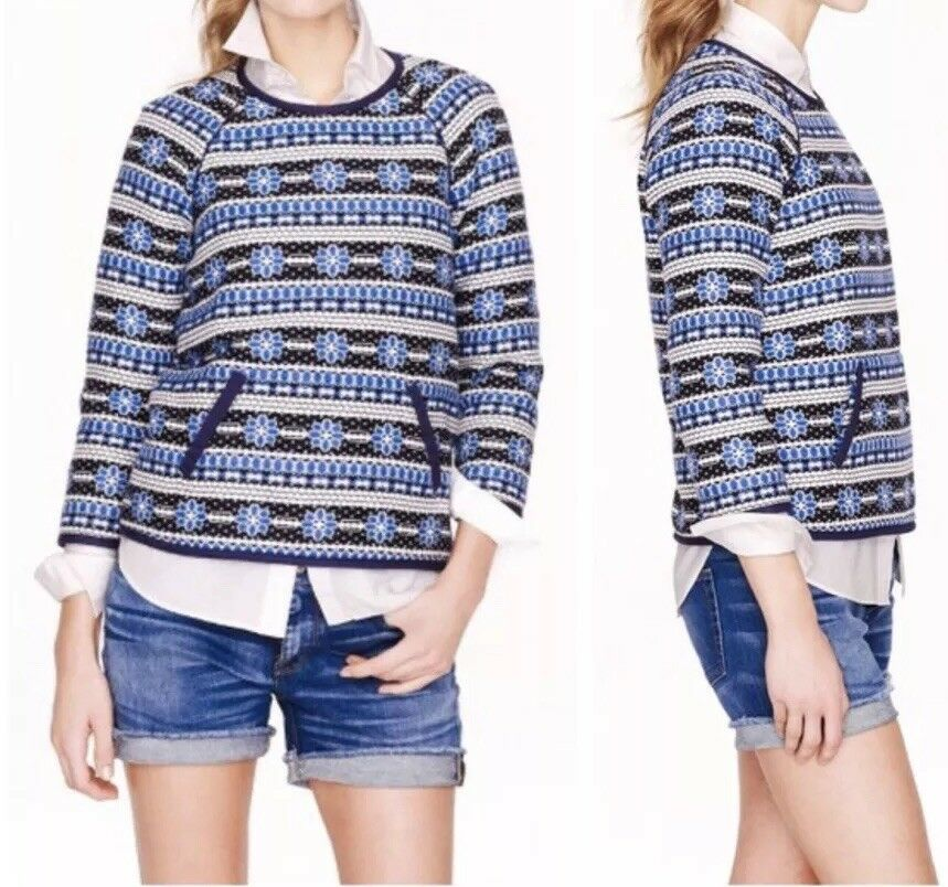 124. J. CREW Collection Popover SweatHemd in Floral Jacquard 12   148 Navy oben