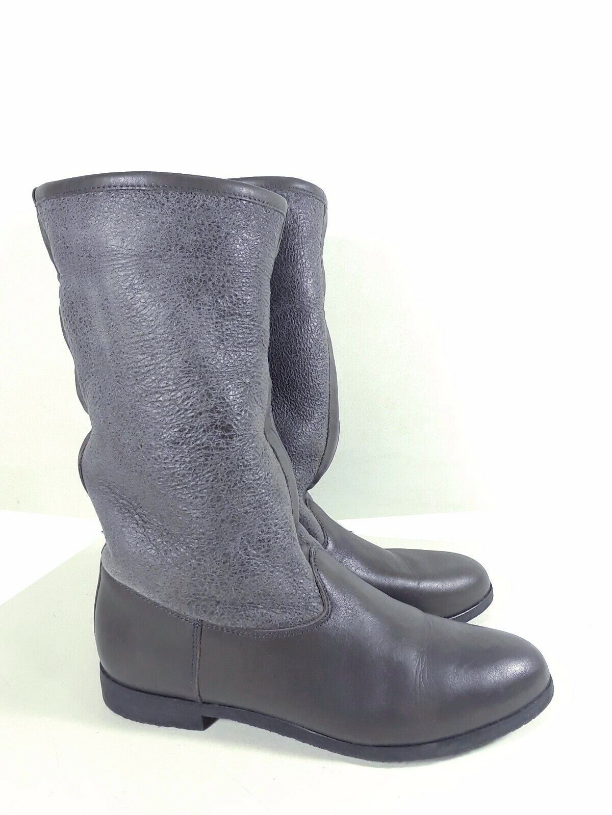 Anthropologie KMB shearling Leather Boots Grey Made in Spain Size 38 EU Sku S7