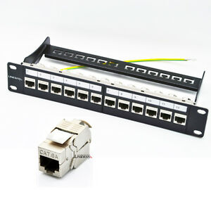 12 Port Cat6a Patch Panel Loaded With 12x Cat6a Shielded