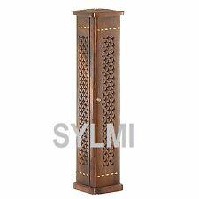 INCENSE BURNER Tall Wood Stand Tower/Stick/Cone/Holder/Brass/Storage/Ash Catcher