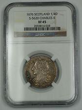 1676 Scotland 1/4 Dollar Silver Coin S-5620 Charles II NGC XF-45 AKR