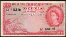 1963 BRITISH CARIBBEAN TERRITORIES $1 DOLLRAS BANKNOTE * K4-848130 * aVF * P-7c
