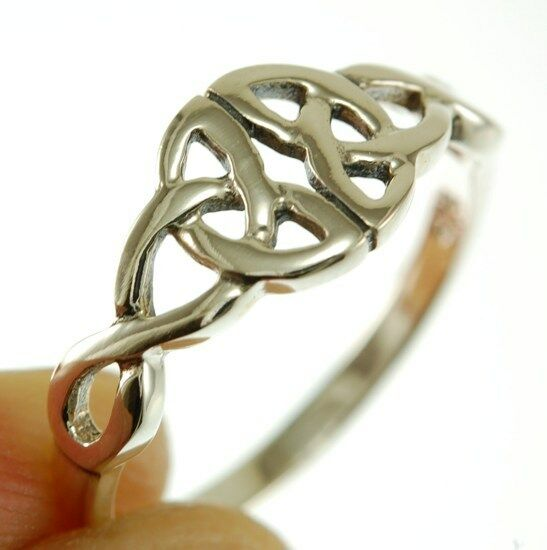 Celtic Trinity Knot Silver Ring, Mix-US-Size, Plain Solid Sterling Silver, rp609