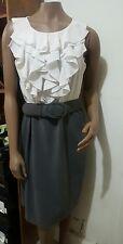 Chic Sleeveless creme ruffle top/gray bottom knee length Dress 12 Large Career