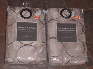 Bed Bath Beyond Manhattan Taupe 108 Grommet Panel Pair New Ebay